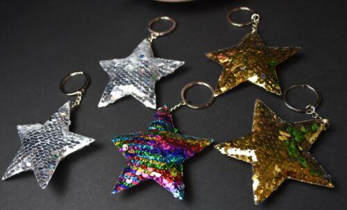 12 X Recuerdos Key Chains Star Party Favors Silver Gold Rainbow Fantasy Rockstar
