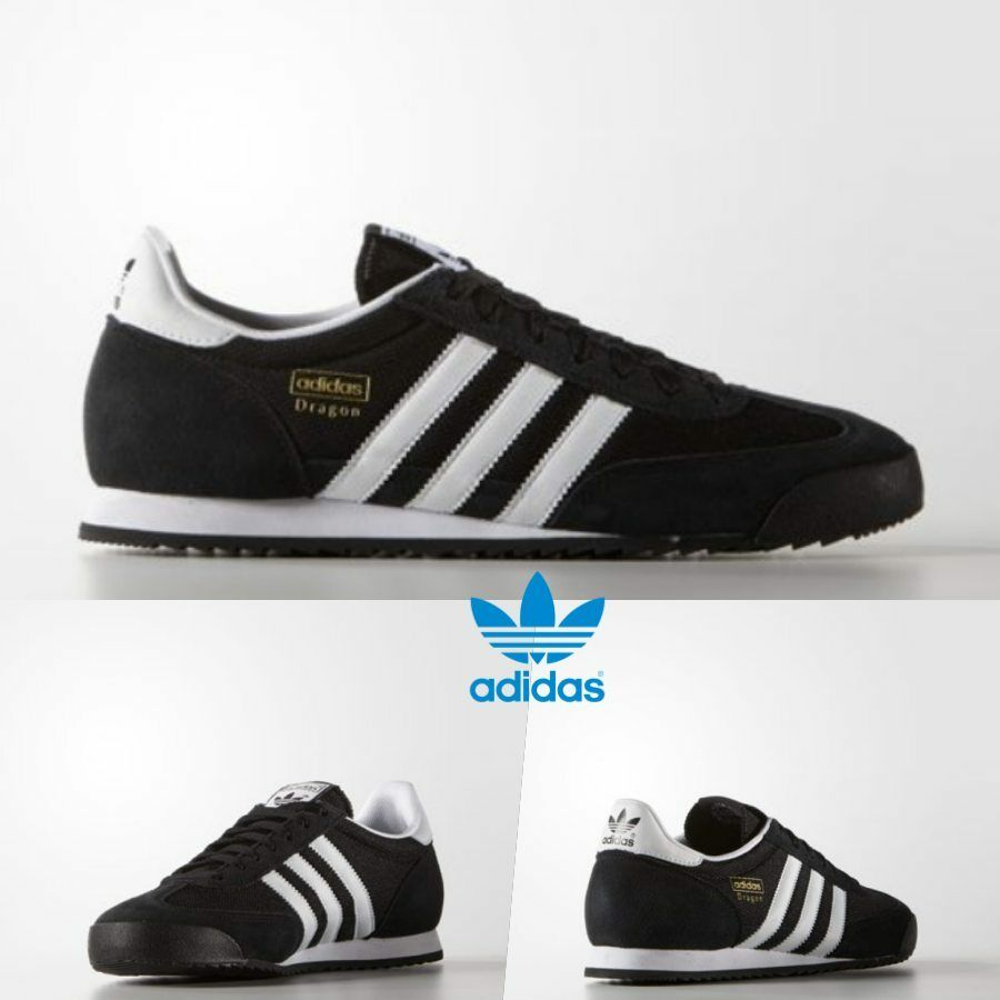 meet ba6ad 518a0 Sale Adidas Original Dragon Athletic Sneakers Black White Go