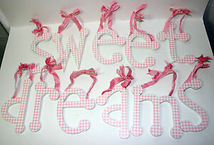 Details About Sweet Dreams Pink Gingham Individual Ribbon Hanging Wall Letters Nursery Decor