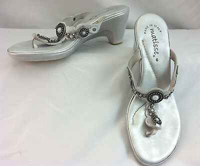 Matisse women shoes leather silver white rhinestone flip flop heel sandal size 6
