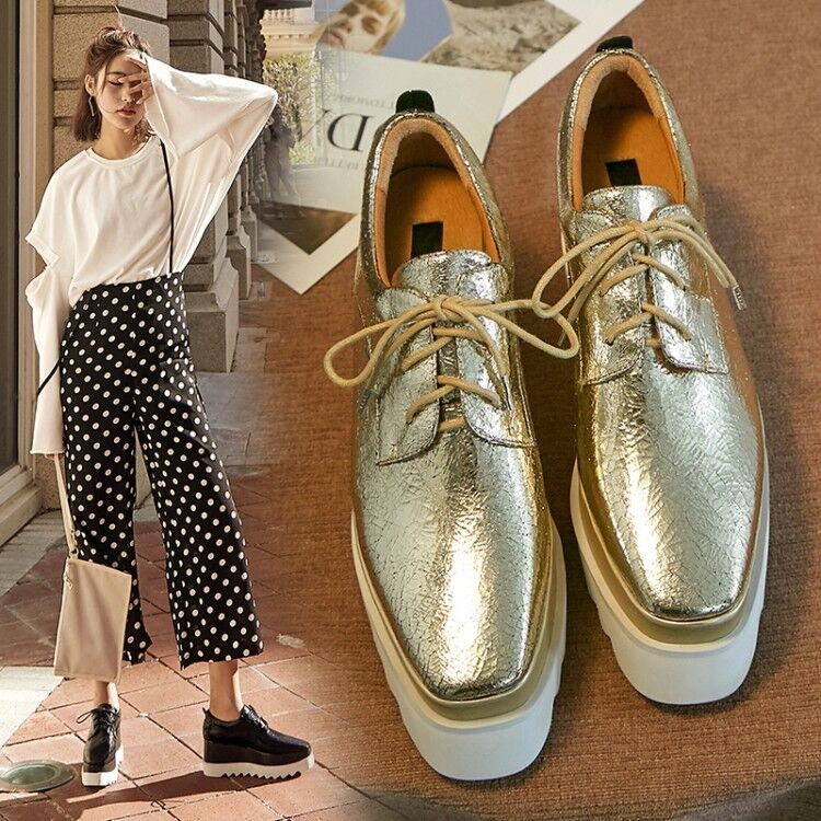 New femmes Metallic or Lace Up Wedge talons hauts Platform chaussures Oxford oxfords