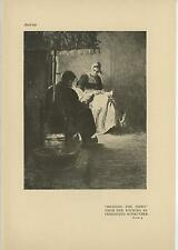 ANTIQUE AUSTRIAN WOMAN MAN READING THE NEWS ARTIST FERDINAND SCHMUTZER OLD PRINT