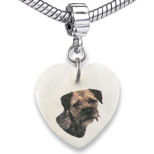 Border Terrier Dog Heart Mother Of Pearl Charm Bead Fit European Bracelet EBS114