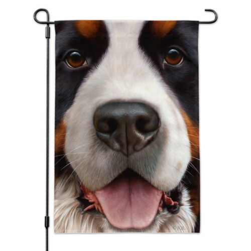 Bernese Mountain Dog Face Closeup Garden Yard Flag