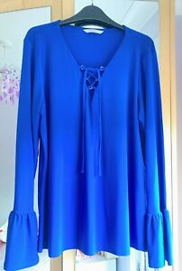 Beautiful Royal Blue Ladies Top Size 14 Lace Up Neck