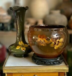 Unmarked-American-Art-Pottery-Two-Large-Pieces-In-Standard-Glaze-with-Flora