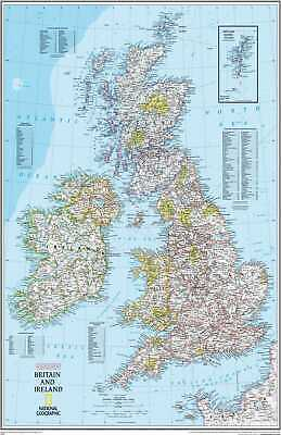 Map Of British Isles /& Ireland UK Poster Print T1523 A4 A3 A2 A1 A0|