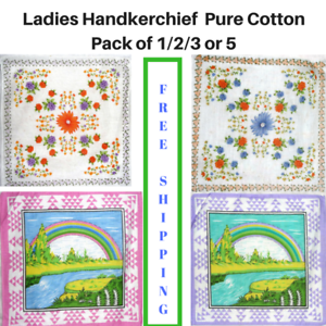 Ladies-Handkerchief-Women-039-s-Hanky-Pure-Cotton-Assorted-Designs-Pack-of-1-2-3or-5