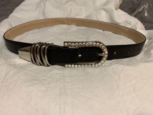 B.B. Simon Swarovskiy Genuine Leather Belt Black