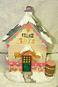 RESIN COLORFUL VILLAGE TOYS SHOP CHRISTMAS COOKIE JAR TREATS JAR CONTAINER | eBay