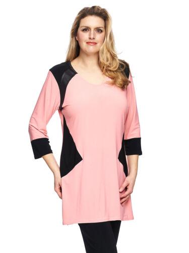 /%/% MAGNA Lederoptik Details Longshirt lachs Long Tunika Kleid casual Bluse