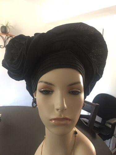 Adjustable Velcro Color: Black Auto Gele One Size Aso Oke Fabric