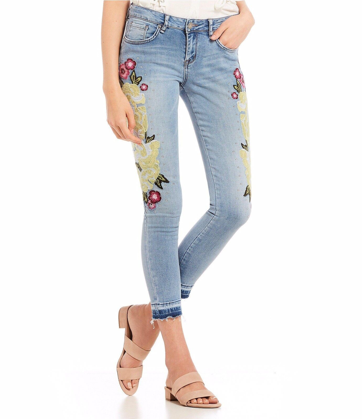New WILLIAM RAST Sz 29 Floral Embroidered Studded Skinny Ankle Jeans