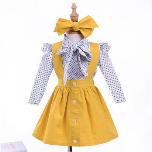 Princess Toddler Infant Baby Girls Dot Print Tops T Shirt+Strap Skirt Outfit Set