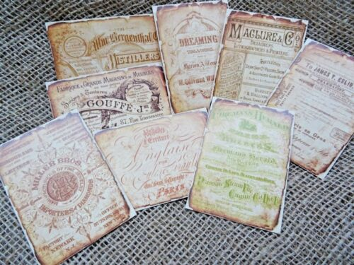 Set of 8 Vintage Advertisements Journal Tags//Toppers//Embellishments