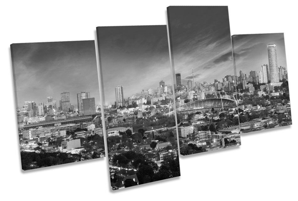 Johannesburg City Skyline South Africa B&W MULTI CANVAS WALL ART Boxed Framed