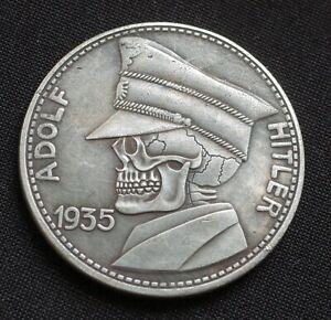WW2-GERMAN-HOBO-COIN-5-REICHSMARK-1935-ADOLF-HITLER-SKULL-THIRD-REICH-BERLIN