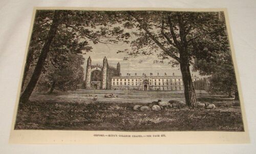 1883 magazine engraving KING'S COLLEGE CHAPEL Oxford