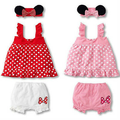 3pcs Girl Baby Infant Headband+Top+Pants Bloomers T-Shirt Outfit Clothes 0-18M