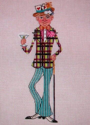 """KW 6090 /""""Tony/"""" Card Game Player Party Guy HP Hand Painted Needlepoint Canvas"""