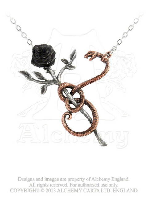Alchemy A Rose For Eve Pendant/Necklace/Chain P689 gothic/goth/snake/serpent/emo