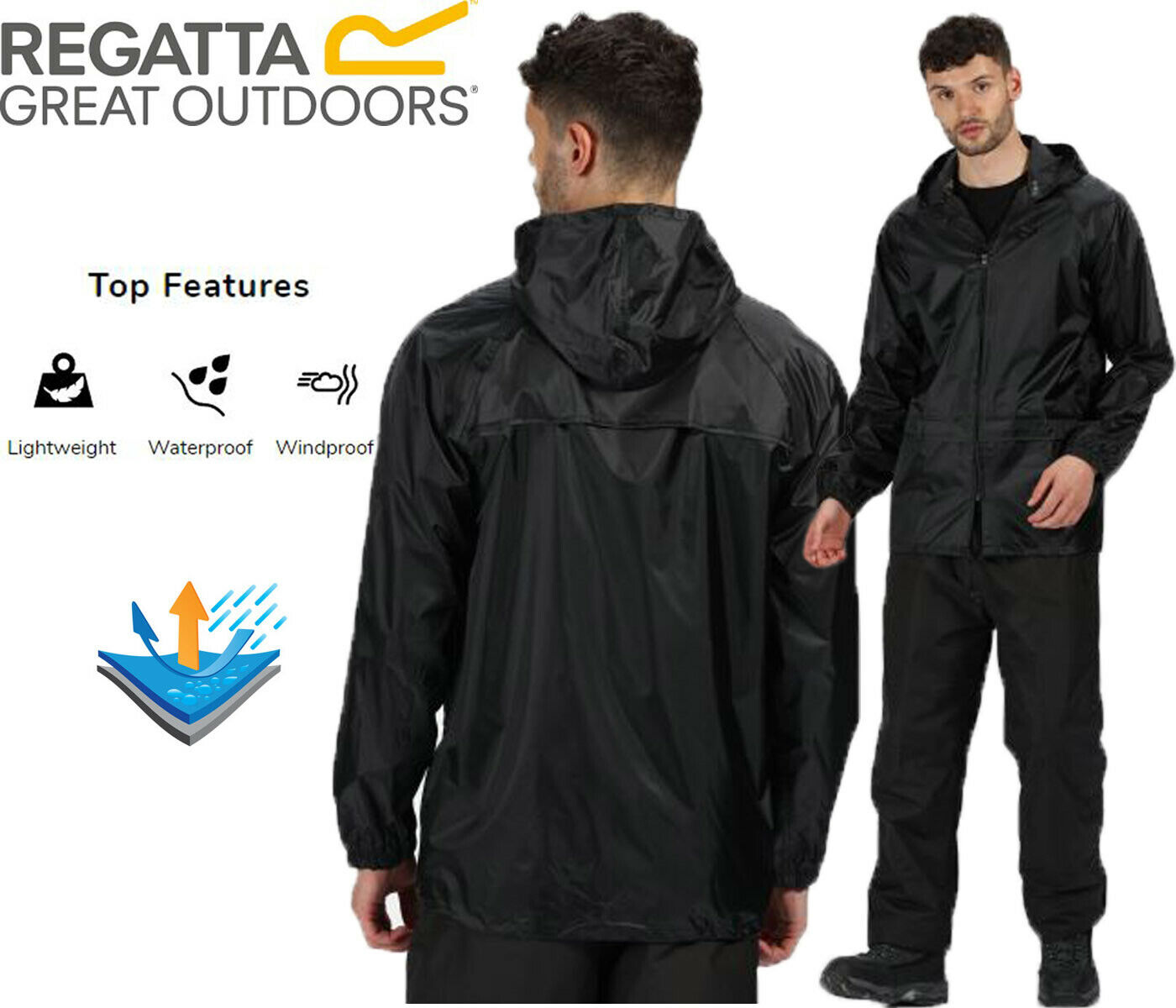 Regatta Mens Womens Stormbreak Rain Coat Waterproof Jacket Packable Hooded
