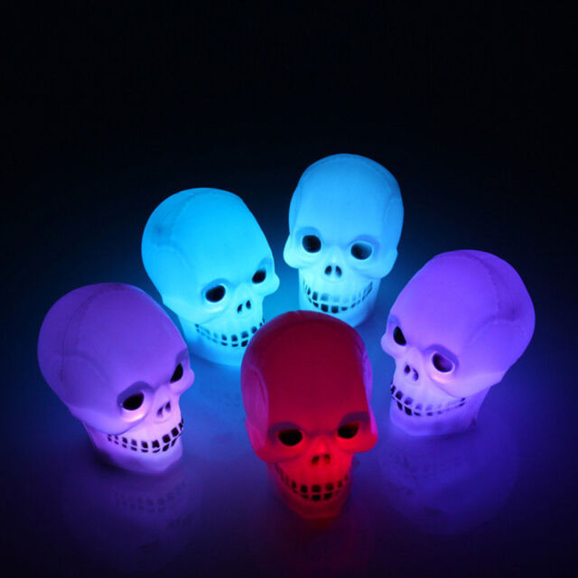 LED Skeleton Skull Novelty Color Changed Glowing Light Lamp Halloween Party Gift