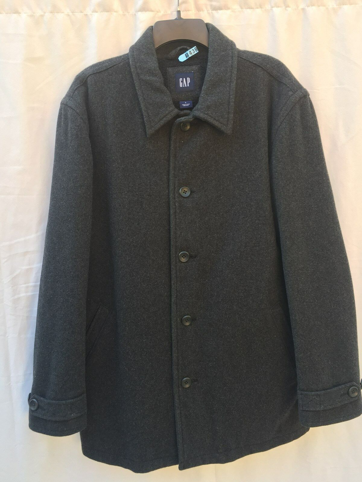 Men's GAP Wool Blend Dark Charcoal Gary Winter Coat Size L Fleece Lining