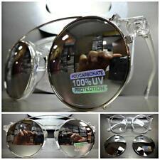 VINTAGE Style Clear Lens CLIP ON SUN GLASSES Round Transparent Frame Mirror Lens