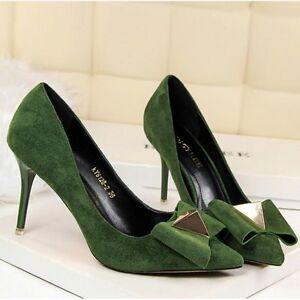 Pumps-Schuhe-Elegant-Gruen-Absatz-9-CM-Stilett-Perlen-Leder-Kunststoff-CW274