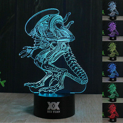 Alien 3D LED Night Light 7 Color Touch Switch Table Desk Lamp Birthday Gift