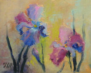 Irises-Original-framed-oil-on-canvas-8-034-x10-034-painting-from-artist