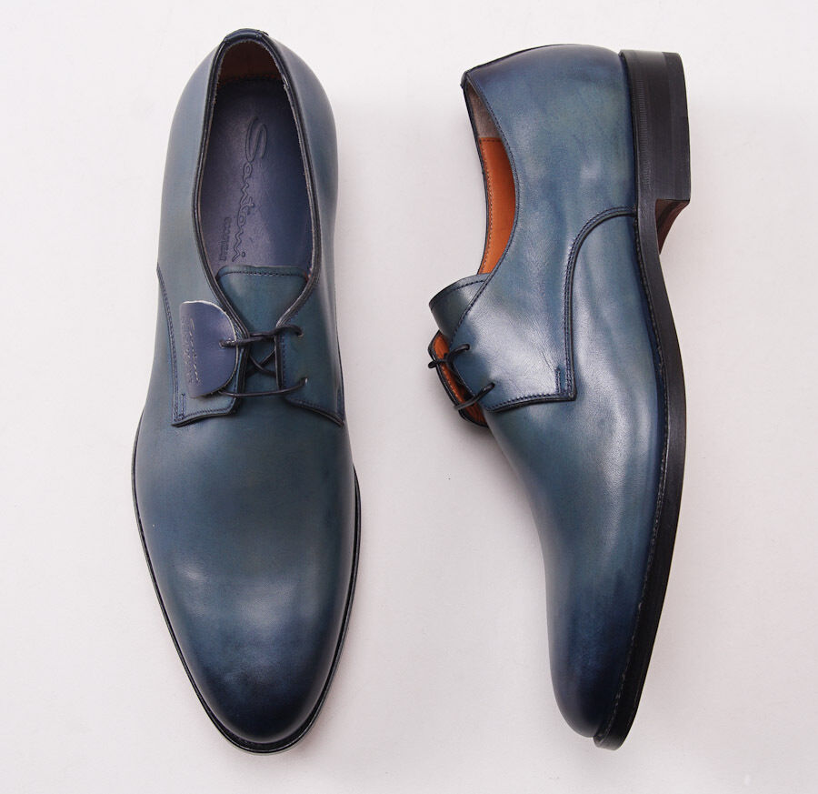NIB  920 SANTONI Goodyear-Welt Antiqued Teal bluee Leather Derby US 7 D shoes