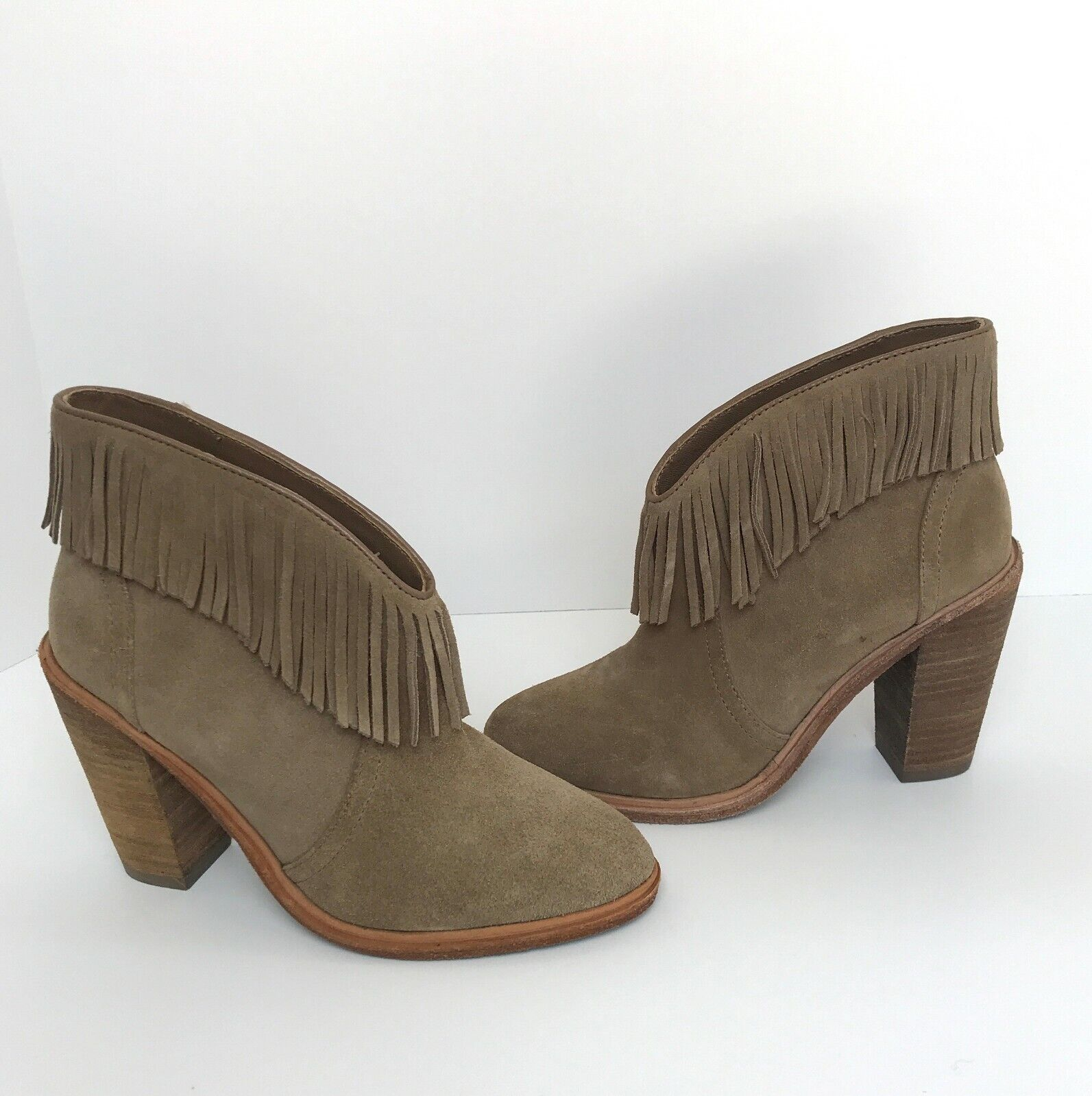 Joie Loren Mousse Tan Suede Suede Suede Fringe Booties Ankle Boots 35 5 New be99b0