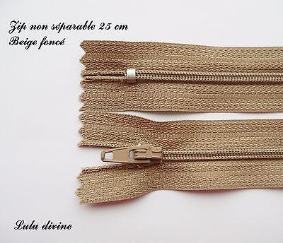 Couleur Bordeaux foncé Zip// Fermeture éclair dentelle non séparable de 25 cm