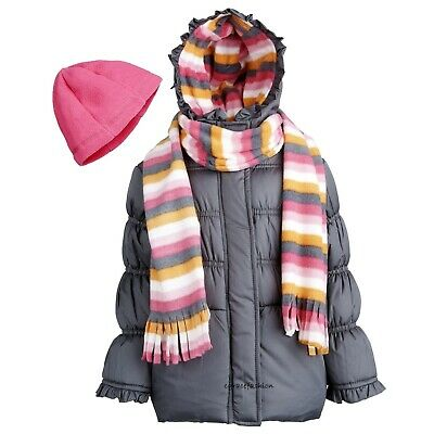 Pink Platinum Girls Solid Cheetah Hooded Puffer Jacket Sizes 12M-16