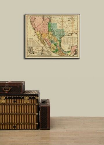 """1820s """"United States of Mexico"""" Vintage Style Southest Wall Map 24x30"""