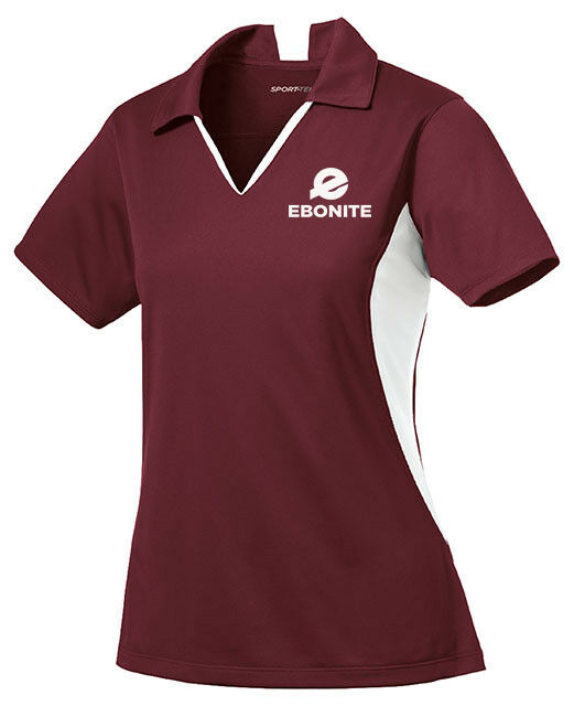 Ebonite Women's Champion Performance Polo Bowling Shirt Dri-Fit Maroon White