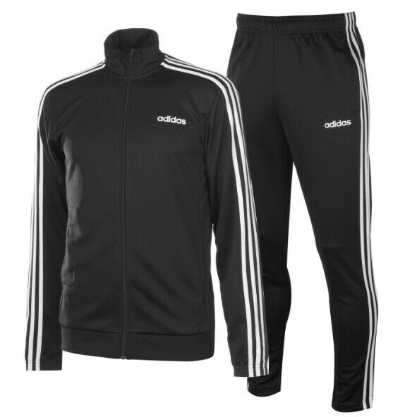 Adidas 3 a Righe Tuta men Tuta Tuta per Jogging Bianco black Nuovo