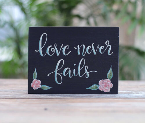 Love Never Fails Wood Sign Hand Painted Purple Floral Scripture Decor 7.25 inch