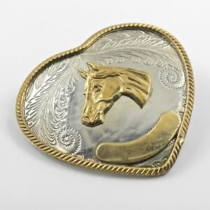 German-Silver-and-Gold-Engravable-Heart-Horse-Belt-Buckle-Western-Cowgirl