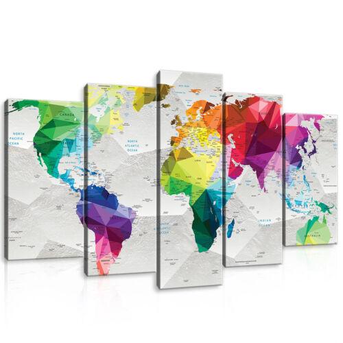 Set (5 pièces) Fabriquée la fresque Carte Carte Monde Géométrie 3fx11190s17