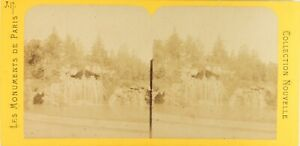 Francia Parigi Cascade Legno Da Boulogne, Foto Stereo Vintage Albumina Ca 1868