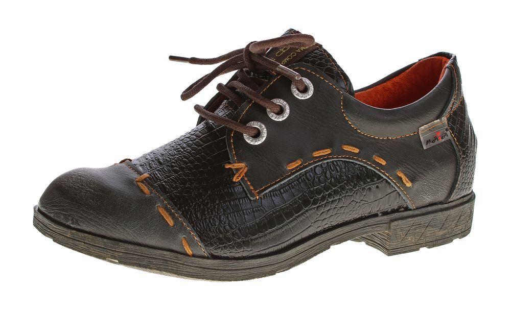 Mujer Confort Cuero Natural Mitad Zapatos Tma 1818 1818 1818 Reptil Estampado Cordones  bajo precio