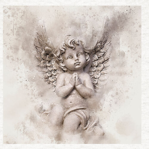 Watercolour Grunge Cherub Angel Child Fabric Upholstery Craft Panel