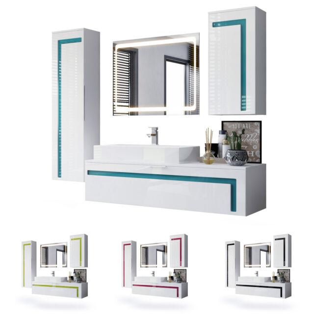 Schlafzimmer Rondino Komplettset In Sandeiche Wei Hochglanz Mit Led Gunstig Kaufen Ebay