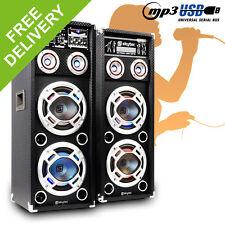 Large Mega Skytec Dual PA Active Speakers LED Karaoke DJ Disco Party 800W