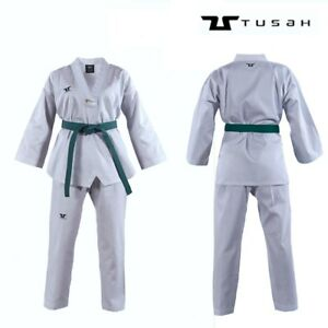 Tusah-Kids-WT-Taekwondo-Dobok-Childs-TKD-Uniform-Suit-Ribbed-V-Neck-White-Collar