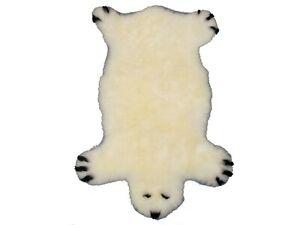 White Bear Shaped Sheepskin Rug 1166