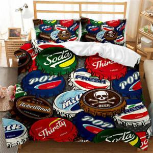 Wonderful-Special-Beer-Cap-3D-Quilt-Duvet-Doona-Cover-Set-Pillow-case-Print